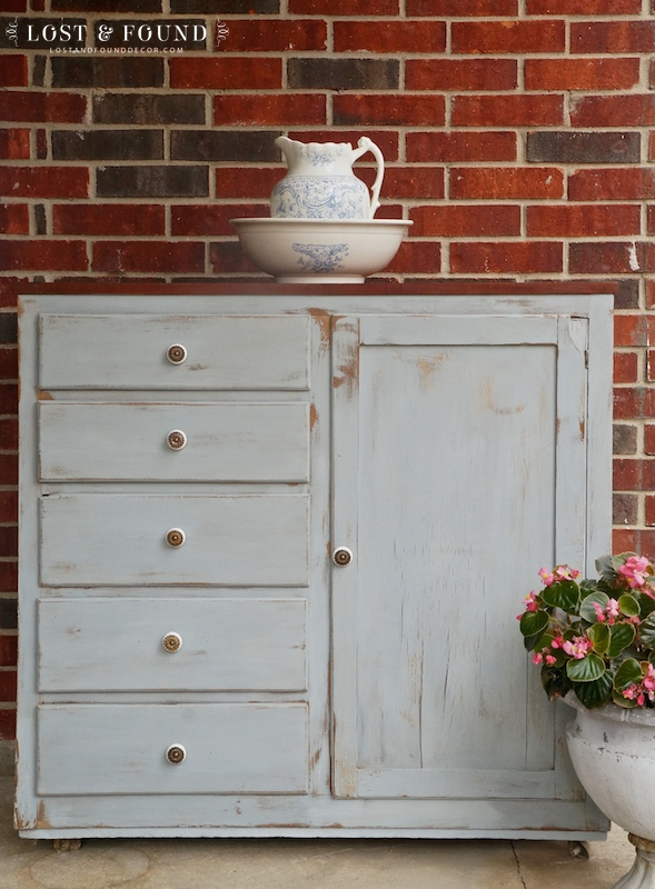 Cabinet in Shutter Gray milk paint