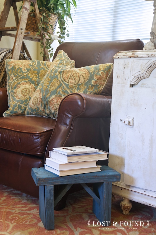 Use A Small Footstool as an added side table
