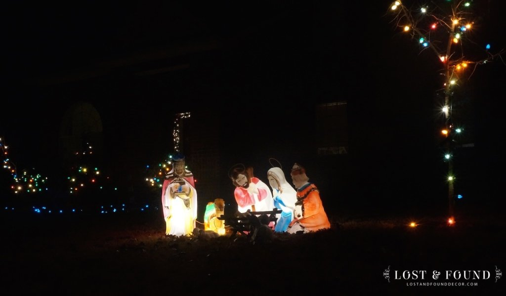 Vintage Blowmold Nativity Outdoor Light up Set
