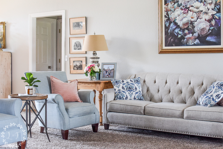 Tan Blue And Blush Living Room Decor The New House Lost Found