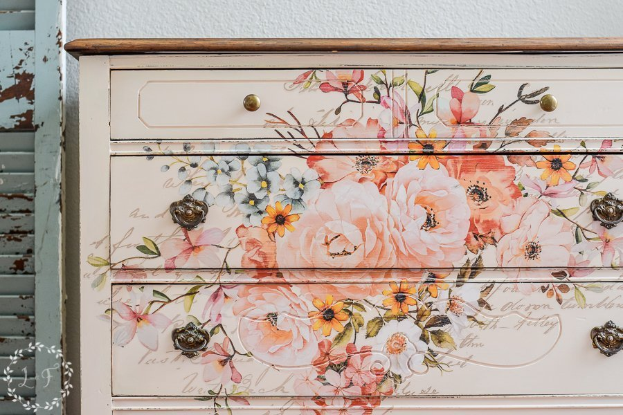 Antique Pink Floral Dresser Makeover with Redesign by Prima Transfer