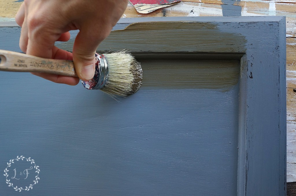 how to add glaze to antique painted cabinets