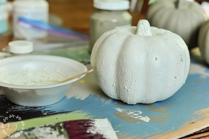 Painted Dollar Store Pumpkins | How to Get a Weathered Texture Finish with Fusion Fresco