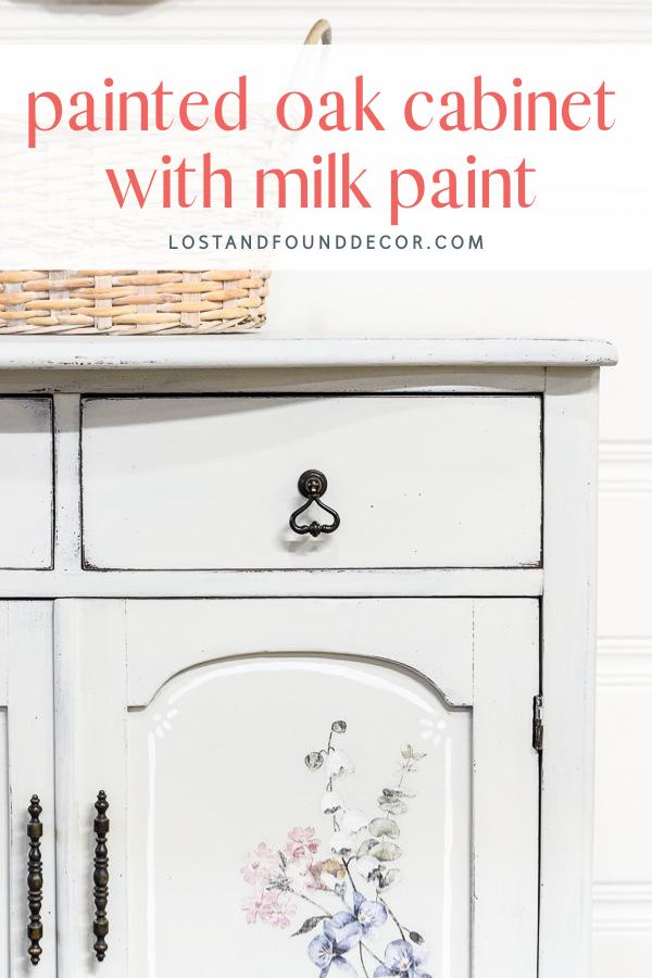 Painted Oak Cabinet with Milk Paint